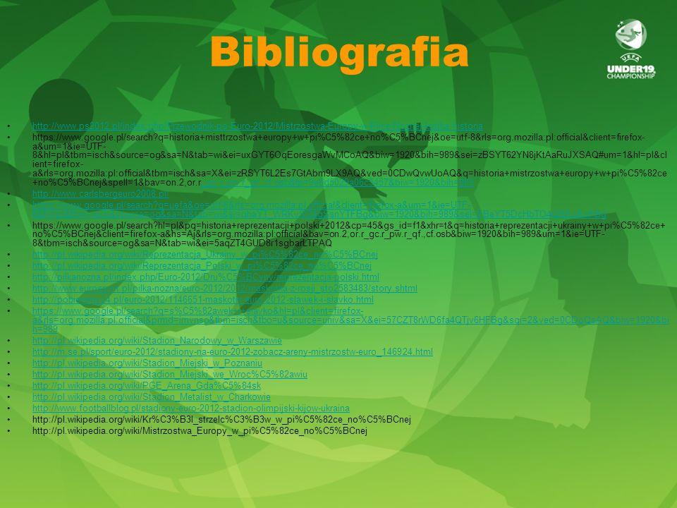 Bibliografia http://www.ps2012.pl/index.php/Przewodnik-po-Euro-2012/Mistrzostwa-Europy-w-Pilce-Noznej-krotka-historia https://www.google.pl/search?q=historia+misttrzostwa+europy+w+pi%C5%82ce+no%C5%BCnej&oe=utf-8&rls=org.mozilla:pl:official&client=firefox- a&um=1&ie=UTF- 8&hl=pl&tbm=isch&source=og&sa=N&tab=wi&ei=uxGYT6OqEoresgaWvMCoAQ&biw=1920&bih=989&sei=zBSYT62YN8jKtAaRuJXSAQ#um=1&hl=pl&cl ient=firefox- a&rls=org.mozilla:pl:official&tbm=isch&sa=X&ei=zRSYT6L2Es7GtAbm9LX9AQ&ved=0CDwQvwUoAQ&q=historia+mistrzostwa+europy+w+pi%C5%82ce +no%C5%BCnej&spell=1&bav=on.2,or.r_gc.r_pw.r_qf.,cf.osb&fp=9e8d5029a06c5457&biw=1920&bih=989_gc.r_pw.r_qf.,cf.osb&fp=9e8d5029a06c5457&biw=1920&bih=989 http://www.carlsbergeuro2008.pl/ https://www.google.pl/search?q=uefa&oe=utf-8&rls=org.mozilla:pl:official&client=firefox-a&um=1&ie=UTF- 8&hl=pl&tbm=isch&source=og&sa=N&tab=wi&ei=qhaYT_WRKvSQ4gSsnYTFBg&biw=1920&bih=989&sei=FBeYT5DcHbTO4QSEwKnFBghttps://www.google.pl/search?q=uefa&oe=utf-8&rls=org.mozilla:pl:official&client=firefox-a&um=1&ie=UTF- 8&hl=pl&tbm=isch&source=og&sa=N&tab=wi&ei=qhaYT_WRKvSQ4gSsnYTFBg&biw=1920&bih=989&sei=FBeYT5DcHbTO4QSEwKnFBg https://www.google.pl/search?hl=pl&pq=historia+reprezentacji+polski+2012&cp=45&gs_id=f1&xhr=t&q=historia+reprezentacji+ukrainy+w+pi%C5%82ce+ no%C5%BCnej&client=firefox-a&hs=Aj&rls=org.mozilla:pl:official&bav=on.2,or.r_gc.r_pw.r_qf.,cf.osb&biw=1920&bih=989&um=1&ie=UTF- 8&tbm=isch&source=og&sa=N&tab=wi&ei=5aqZT4GUD8r1sgbarLTPAQ http://pl.wikipedia.org/wiki/Reprezentacja_Ukrainy_w_pi%C5%82ce_no%C5%BCnej http://pl.wikipedia.org/wiki/Reprezentacja_Polski_w_pi%C5%82ce_no%C5%BCnej http://pilkanozna.pl/index.php/Euro-2012/Dru%C5%BCyny/reprezentacja-polski.html http://www.eurosport.pl/pilka-nozna/euro-2012/2012/maskotka-z-rosji_sto2583483/story.shtml http://pobieramy24.pl/euro-2012/1146651-maskotki-euro-2012-slawek-i-slavko.html https://www.google.pl/search?q=s%C5%82awek+i+slavko&hl=pl&client=firefox- a&rls=org.mozilla:pl:official&prmd=imvnso&tbm=isch&t