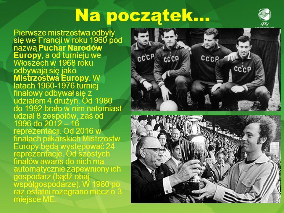 Na początek… Pierwsze mistrzostwa odbyły się we Francji w roku 1960 pod nazwą Puchar Narodów Europy, a od turnieju we Włoszech w 1968 roku odbywają się jako Mistrzostwa Europy.