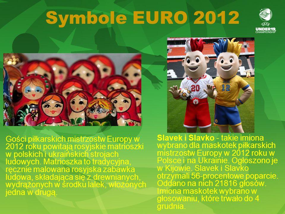 Symbole EURO 2012 Gości piłkarskich mistrzostw Europy w 2012 roku powitają rosyjskie matrioszki w polskich i ukraińskich strojach ludowych.