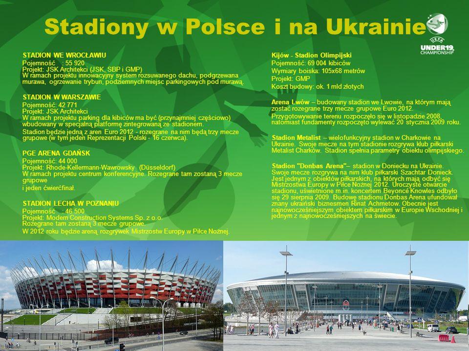Stadiony w Polsce i na Ukrainie STADION WE WROCŁAWIU Pojemność : 55 920 Projekt: JSK Architekci (JSK, SBP i GMP) W ramach projektu innowacyjny system rozsuwanego dachu, podgrzewana murawa, ogrzewanie trybun, podziemnych miejsc parkingowych pod murawą.