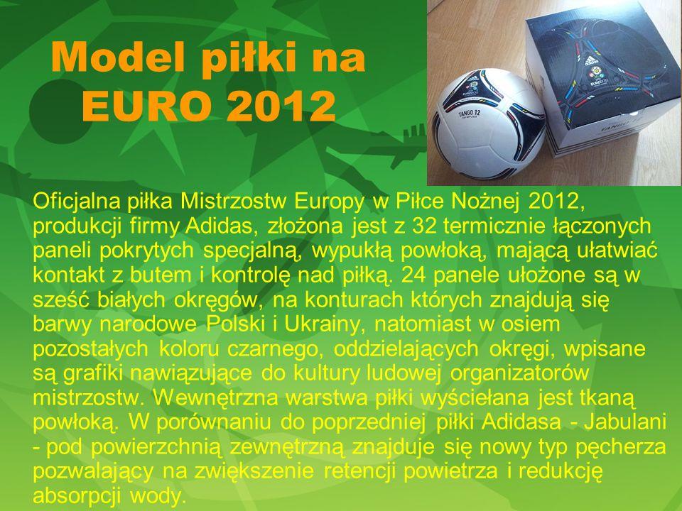 Model piłki na EURO 2012 Oficjalna piłka Mistrzostw Europy w Piłce Nożnej 2012, produkcji firmy Adidas, złożona jest z 32 termicznie łączonych paneli pokrytych specjalną, wypukłą powłoką, mającą ułatwiać kontakt z butem i kontrolę nad piłką.