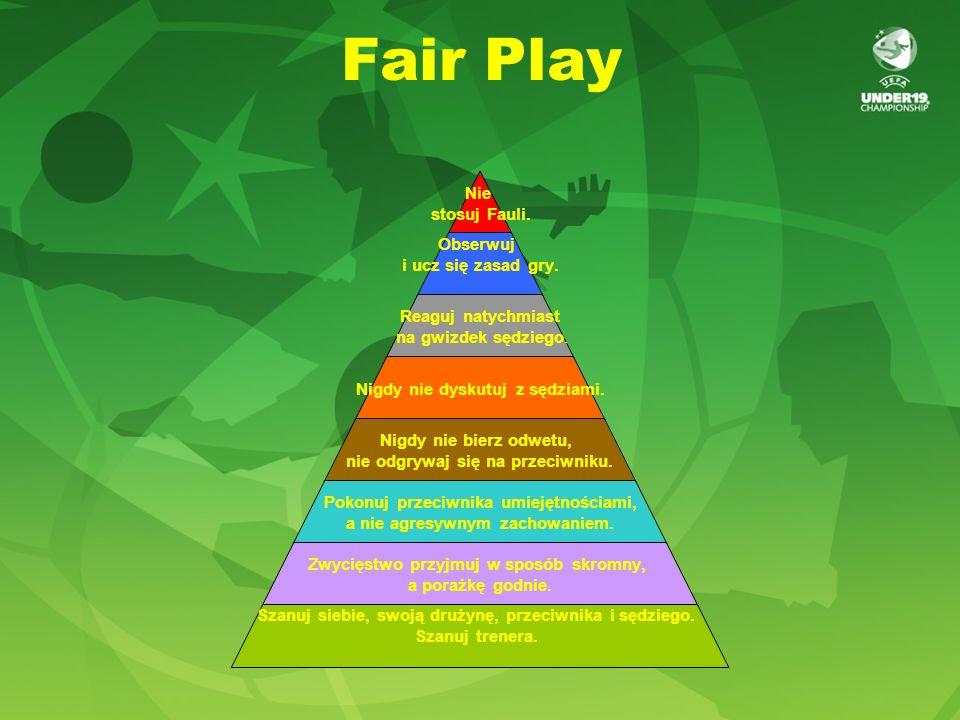 Fair Play Nie stosuj Fauli. Obserwuj i ucz się zasad gry. Reaguj natychmiast na gwizdek sędziego. Nigdy nie dyskutuj z sędziami. Nigdy nie bierz odwet