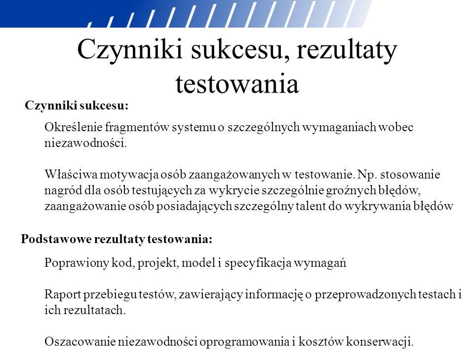Czynniki sukcesu, rezultaty testowania Czynniki sukcesu: Określenie fragmentów systemu o szczególnych wymaganiach wobec niezawodności. Właściwa motywa