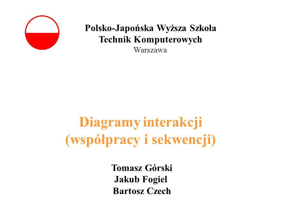 Polsko-Japońska Wyższa Szkoła Technik Komputerowych Warszawa Diagramy interakcji (współpracy i sekwencji) Tomasz Górski Jakub Fogiel Bartosz Czech