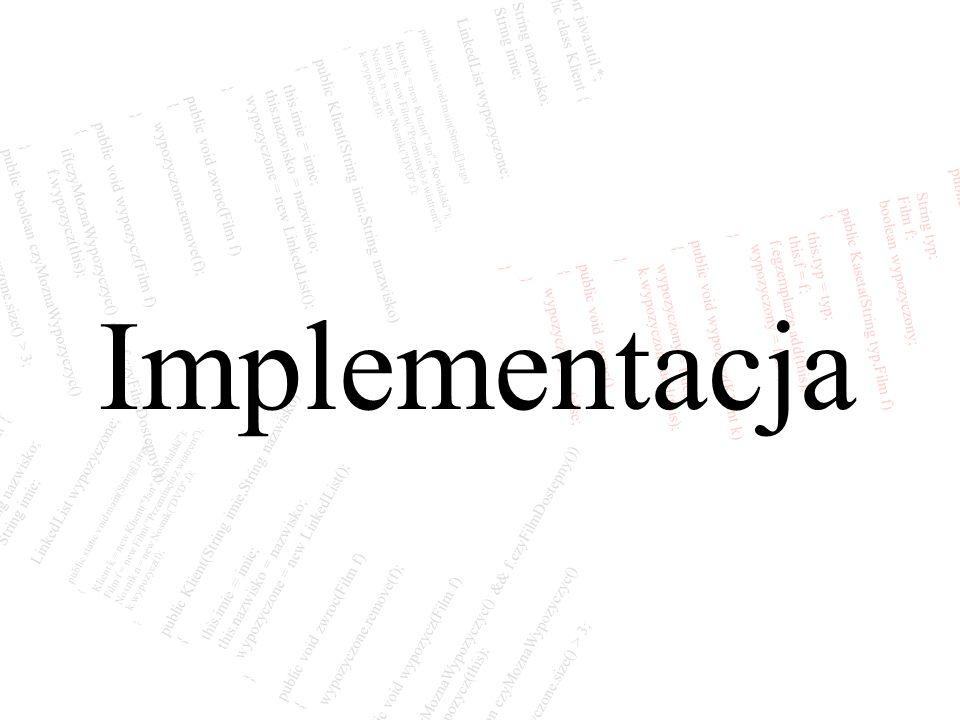 public class Kaseta { String typ; Film f; boolean wypozyczony; public Kaseta(String typ,Film f) { this.typ = typ; this.f = f; f.egzemplarze.add(this);