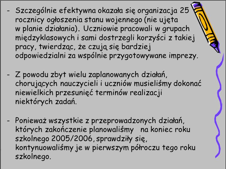 -Szczególnie efektywna okazała się organizacja 25 rocznicy ogłoszenia stanu wojennego (nie ujęta w planie działania). Uczniowie pracowali w grupach mi