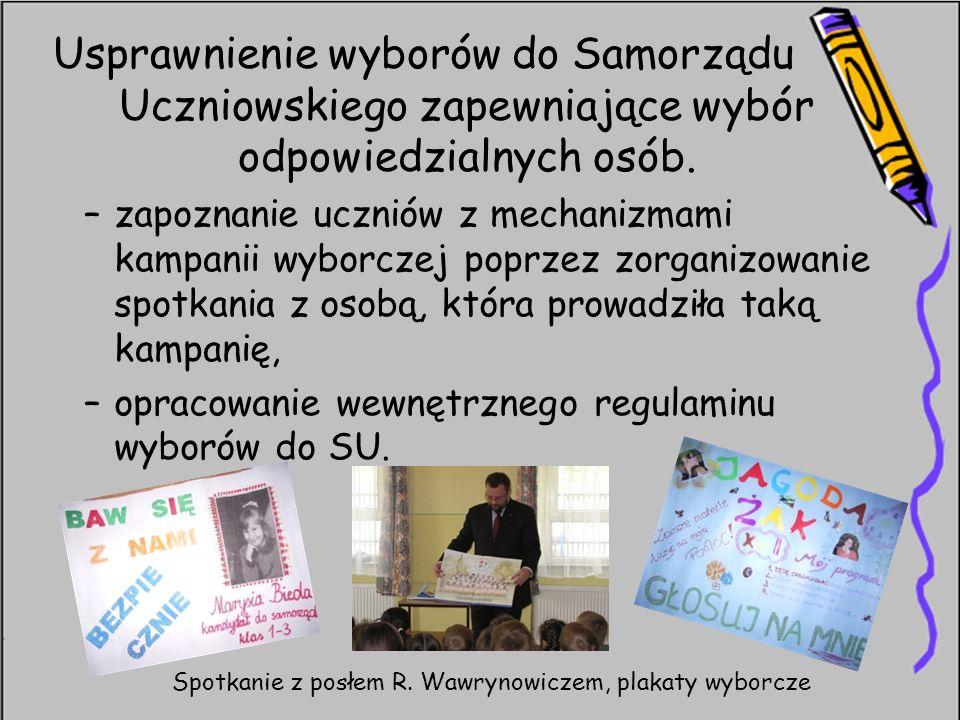 Usprawnienie wyborów do Samorządu Uczniowskiego zapewniające wybór odpowiedzialnych osób. –zapoznanie uczniów z mechanizmami kampanii wyborczej poprze