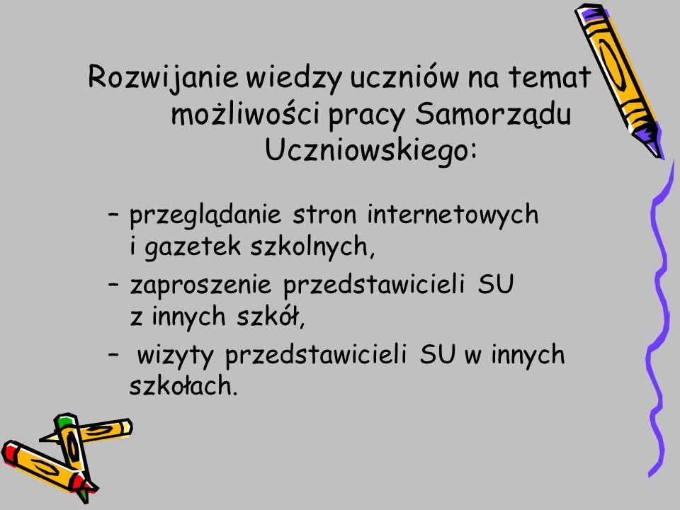 Rozwijanie wiedzy uczniów na temat możliwości pracy Samorządu Uczniowskiego: –przeglądanie stron internetowych i gazetek szkolnych, –zaproszenie przed