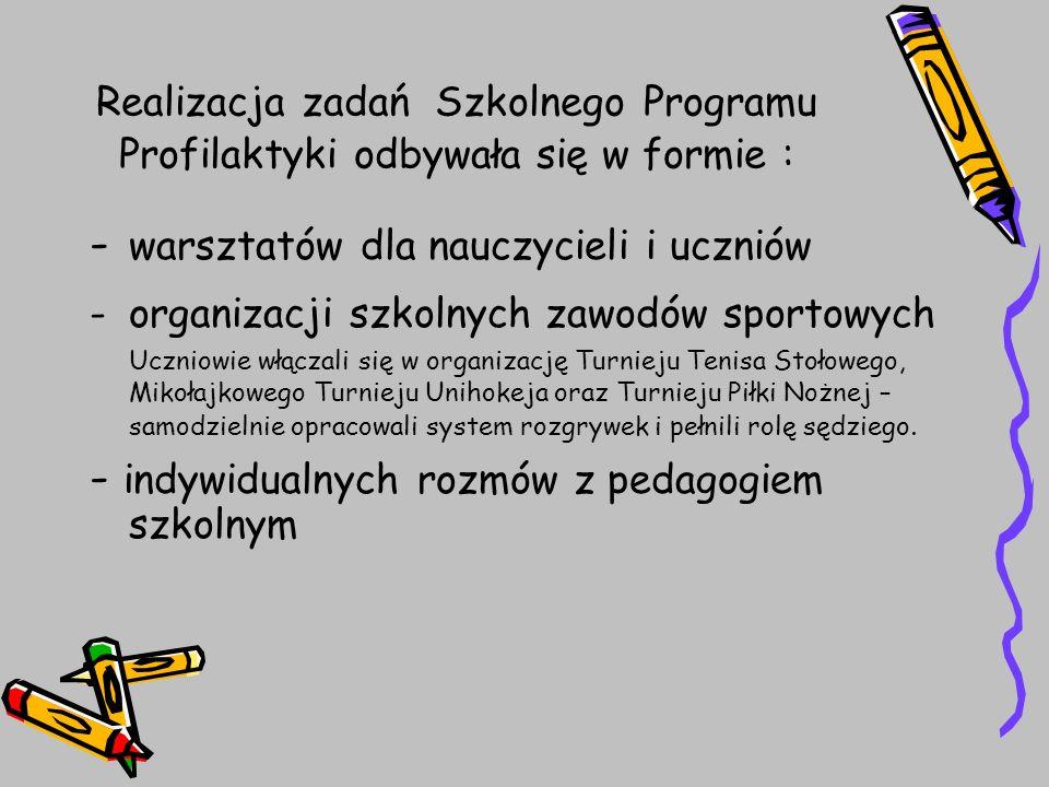 Realizacja zadań Szkolnego Programu Profilaktyki odbywała się w formie : - warsztatów dla nauczycieli i uczniów -organizacji szkolnych zawodów sportow