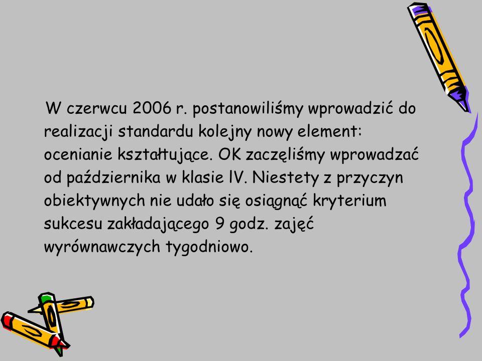 W czerwcu 2006 r. postanowiliśmy wprowadzić do realizacji standardu kolejny nowy element: ocenianie kształtujące. OK zaczęliśmy wprowadzać od paździer