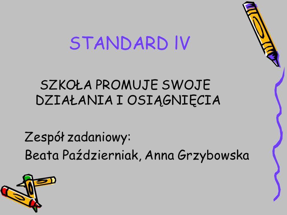 STANDARD lV SZKOŁA PROMUJE SWOJE DZIAŁANIA I OSIĄGNIĘCIA Zespół zadaniowy: Beata Październiak, Anna Grzybowska