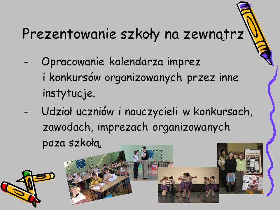 Prezentowanie szkoły na zewnątrz - Opracowanie kalendarza imprez i konkursów organizowanych przez inne instytucje. - Udział uczniów i nauczycieli w ko