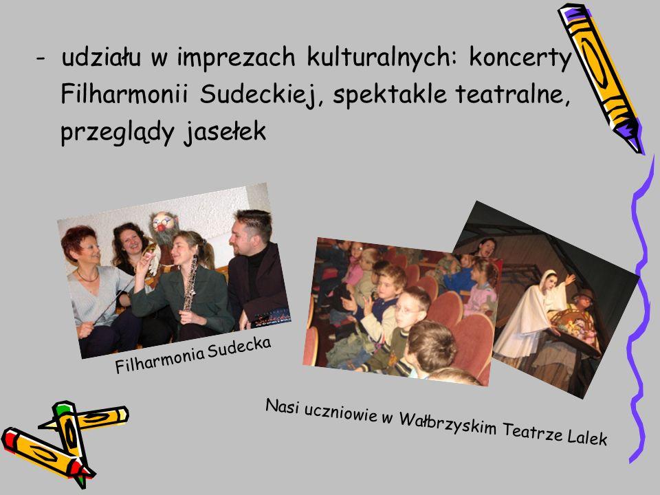 - udziału w imprezach kulturalnych: koncerty Filharmonii Sudeckiej, spektakle teatralne, przeglądy jasełek Filharmonia Sudecka Nasi uczniowie w Wałbrz