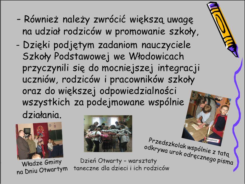 - Również należy zwrócić większą uwagę na udział rodziców w promowanie szkoły, - Dzięki podjętym zadaniom nauczyciele Szkoły Podstawowej we Włodowicac