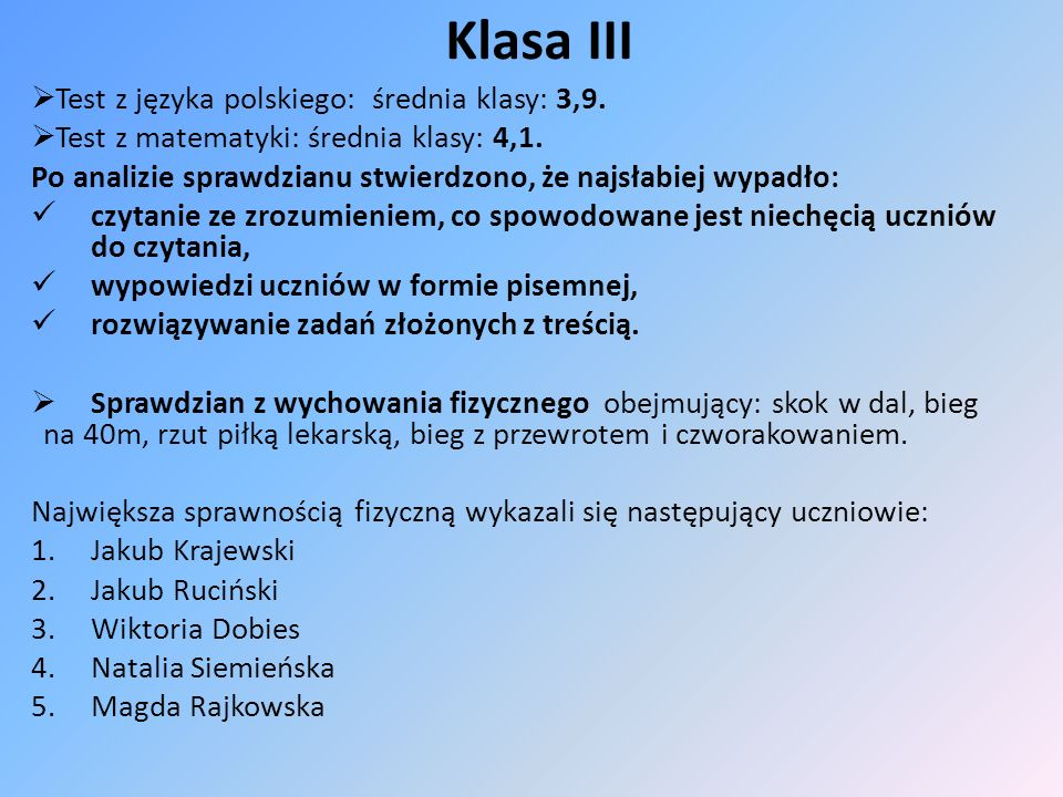 Klasa III Test z języka polskiego: średnia klasy: 3,9. Test z matematyki: średnia klasy: 4,1. Po analizie sprawdzianu stwierdzono, że najsłabiej wypad