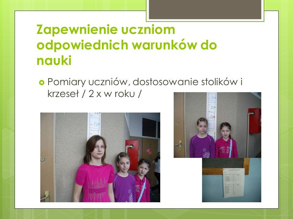 Zapewnienie uczniom odpowiednich warunków do nauki Pomiary uczniów, dostosowanie stolików i krzeseł / 2 x w roku /