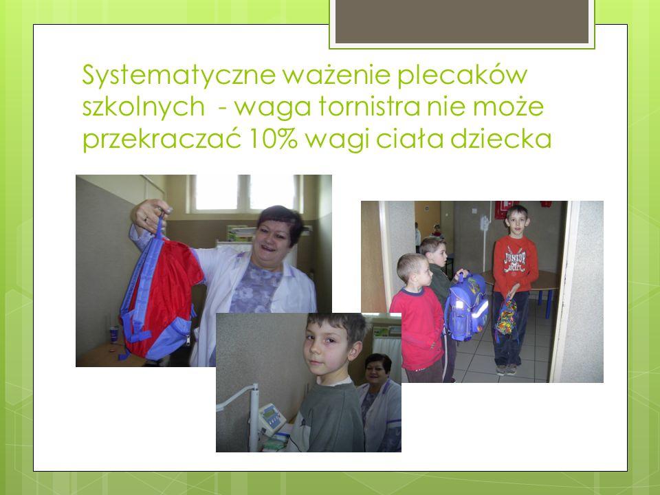 Systematyczne ważenie plecaków szkolnych - waga tornistra nie może przekraczać 10% wagi ciała dziecka