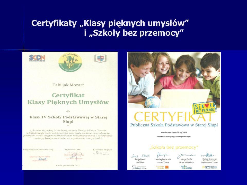 Certyfikaty Klasy pięknych umysłów i Szkoły bez przemocy