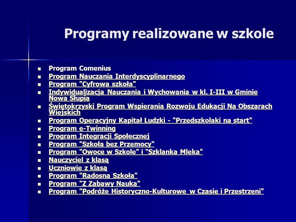 Programy realizowane w szkole Program Comenius Program Nauczania Interdyscyplinarnego Program