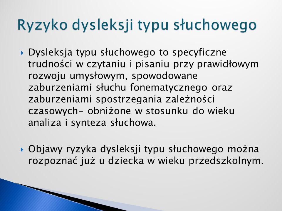 Dysleksja typu słuchowego to specyficzne trudności w czytaniu i pisaniu przy prawidłowym rozwoju umysłowym, spowodowane zaburzeniami słuchu fonematycz