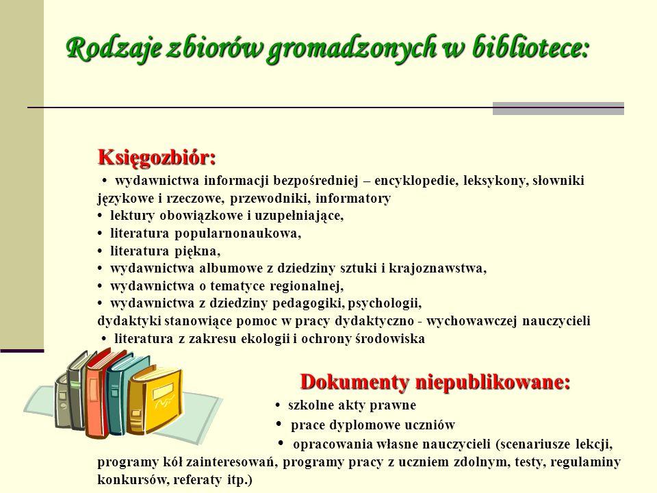Księgozbiór: wydawnictwa informacji bezpośredniej – encyklopedie, leksykony, słowniki językowe i rzeczowe, przewodniki, informatory lektury obowiązkow