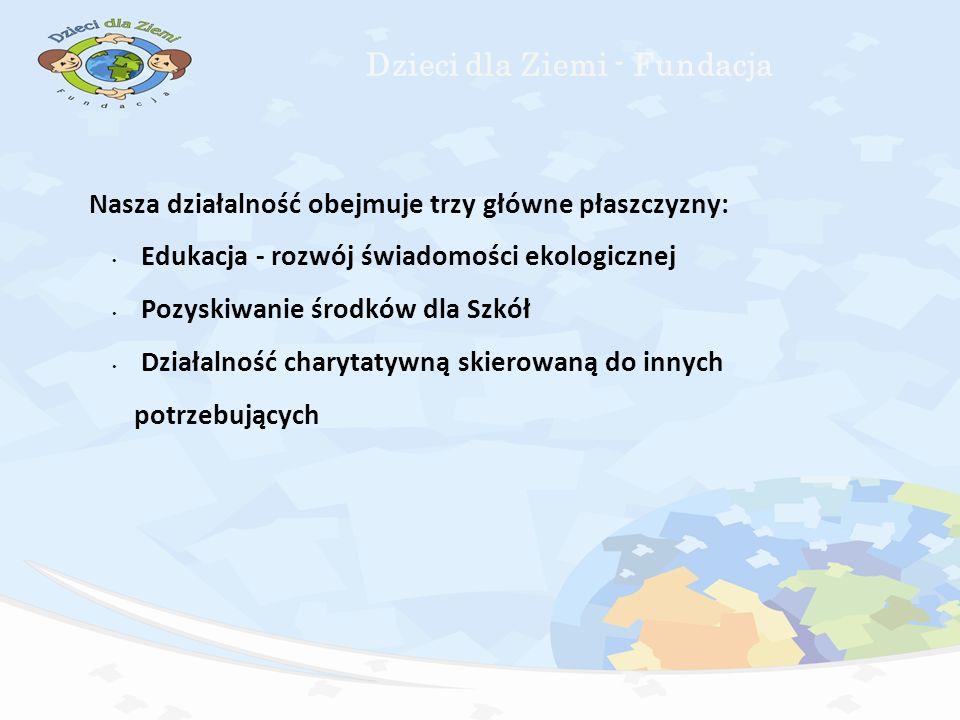 Nasza działalność obejmuje trzy główne płaszczyzny: Edukacja - rozwój świadomości ekologicznej Pozyskiwanie środków dla Szkół Działalność charytatywną skierowaną do innych potrzebujących Dzieci dla Ziemi - Fundacja