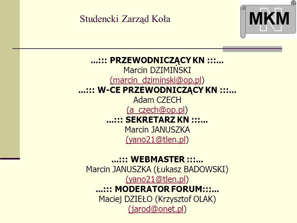 Studencki Zarząd Koła...::: PRZEWODNICZĄCY KN :::... Marcin DZIMIŃSKI (marcin_dziminski@op.pl) (marcin_dziminski@op.pl...::: W-CE PRZEWODNICZĄCY KN ::