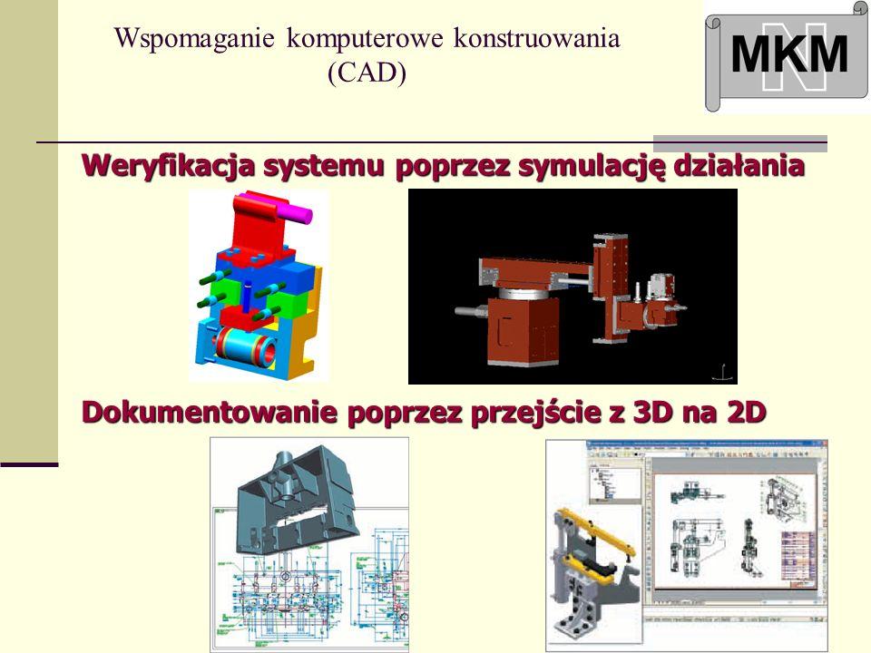 Wspomaganie komputerowe konstruowania (CAD) Weryfikacja systemu poprzez symulację działania Dokumentowanie poprzez przejście z 3D na 2D