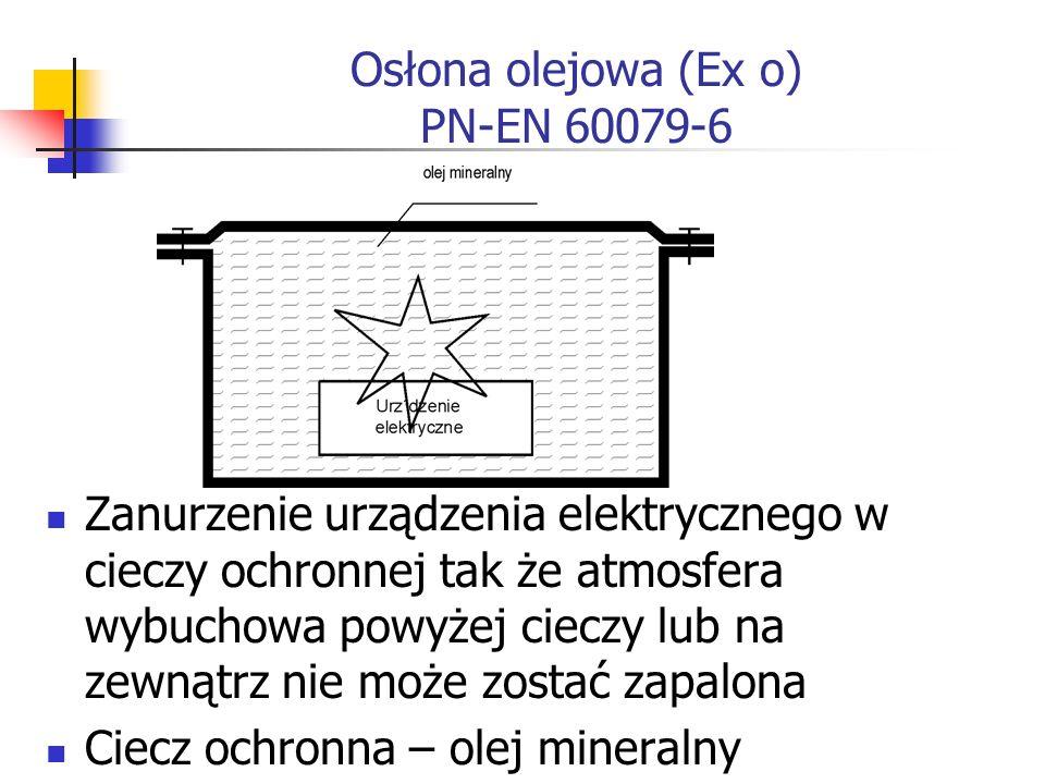 Osłona olejowa (Ex o) PN-EN 60079-6 Zanurzenie urządzenia elektrycznego w cieczy ochronnej tak że atmosfera wybuchowa powyżej cieczy lub na zewnątrz nie może zostać zapalona Ciecz ochronna – olej mineralny