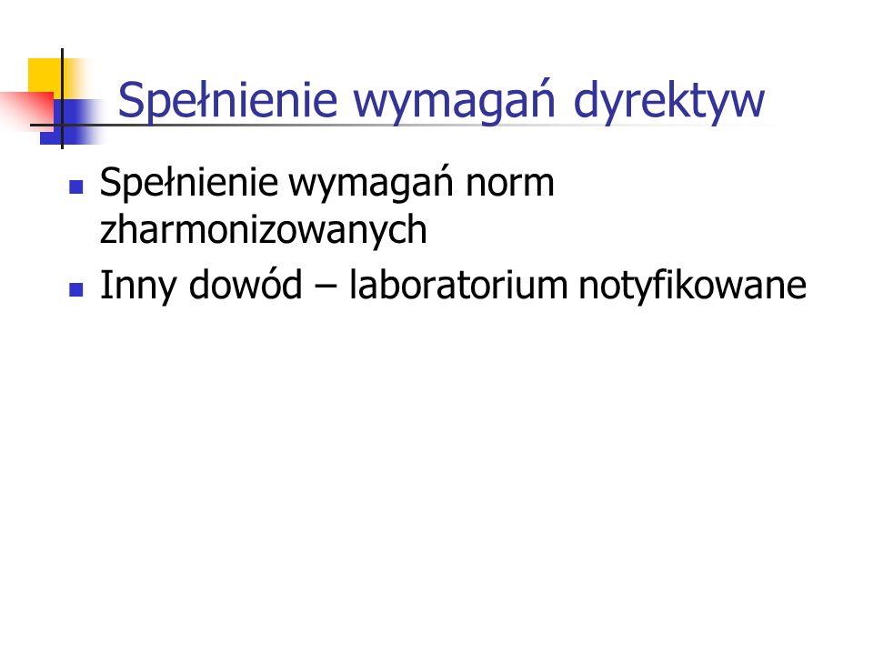 Spełnienie wymagań dyrektyw Spełnienie wymagań norm zharmonizowanych Inny dowód – laboratorium notyfikowane