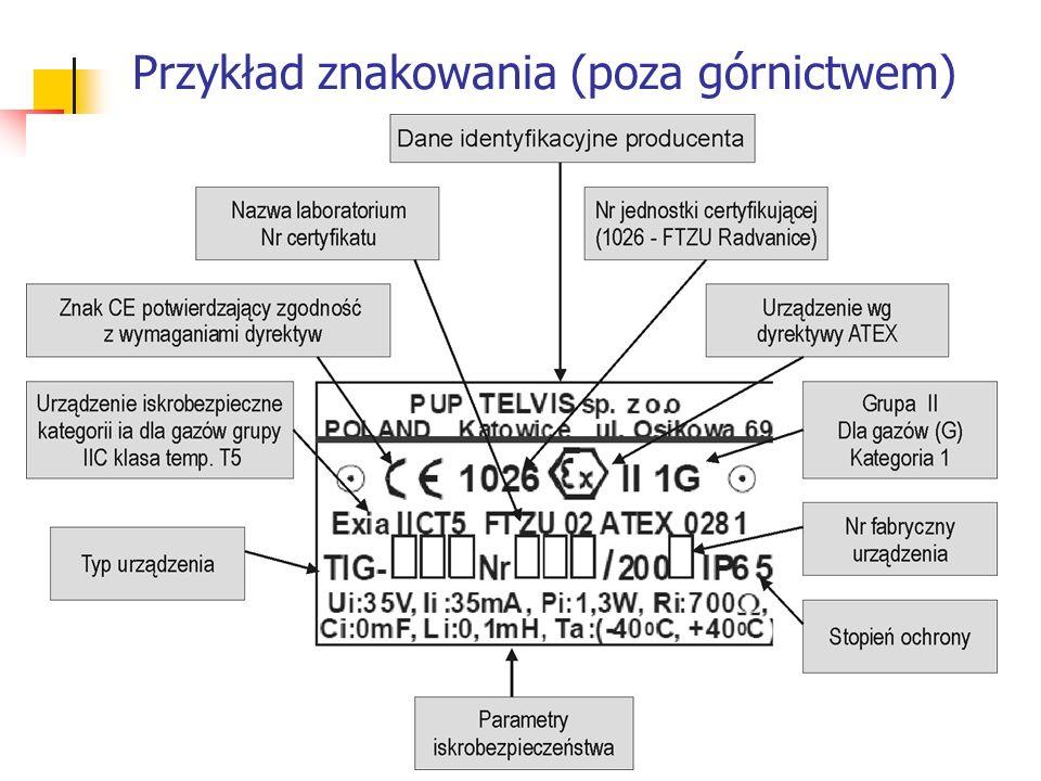 Przykład znakowania (poza górnictwem)