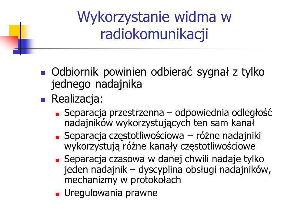 Wykorzystanie widma w radiokomunikacji Odbiornik powinien odbierać sygnał z tylko jednego nadajnika Realizacja: Separacja przestrzenna – odpowiednia o