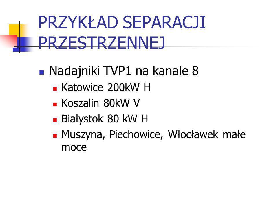 PRZYKŁAD SEPARACJI PRZESTRZENNEJ Nadajniki TVP1 na kanale 8 Katowice 200kW H Koszalin 80kW V Białystok 80 kW H Muszyna, Piechowice, Włocławek małe moc