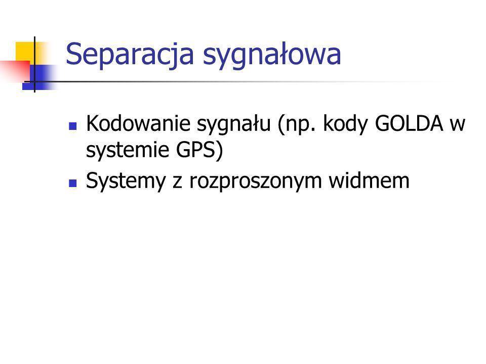 Separacja sygnałowa Kodowanie sygnału (np. kody GOLDA w systemie GPS) Systemy z rozproszonym widmem