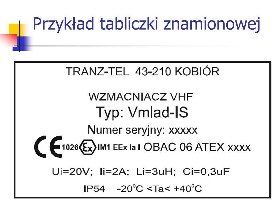 Przykład tabliczki znamionowej