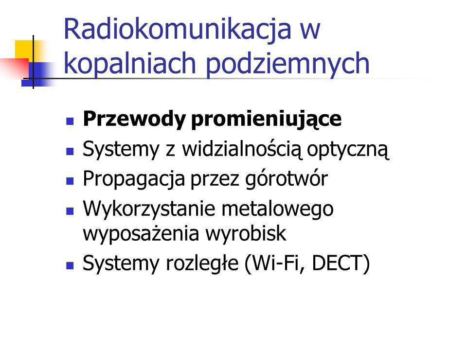Radiokomunikacja w kopalniach podziemnych Przewody promieniujące Systemy z widzialnością optyczną Propagacja przez górotwór Wykorzystanie metalowego w