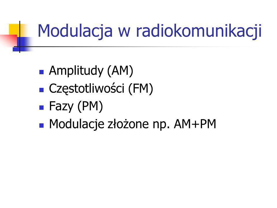 Modulacja w radiokomunikacji Amplitudy (AM) Częstotliwości (FM) Fazy (PM) Modulacje złożone np. AM+PM