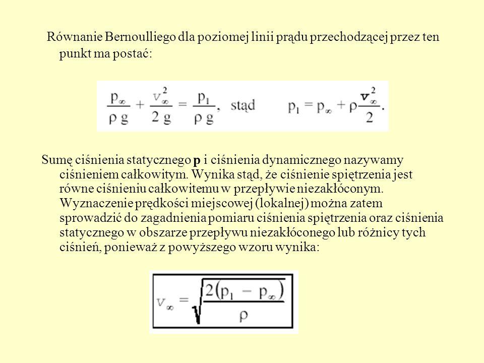Równanie Bernoulliego dla poziomej linii prądu przechodzącej przez ten punkt ma postać: Sumę ciśnienia statycznego p i ciśnienia dynamicznego nazywamy
