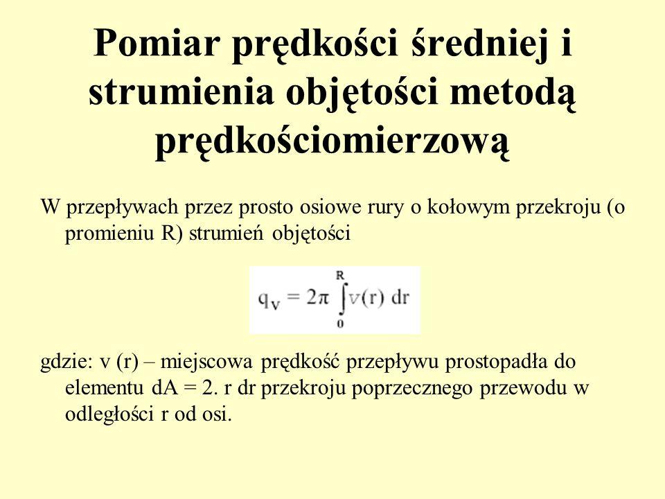 Pomiar prędkości średniej i strumienia objętości metodą prędkościomierzową W przepływach przez prosto osiowe rury o kołowym przekroju (o promieniu R)
