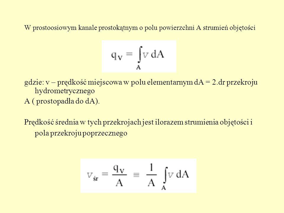 W prostoosiowym kanale prostokątnym o polu powierzchni A strumień objętości gdzie: v – prędkość miejscowa w polu elementarnym dA = 2.dr przekroju hydr