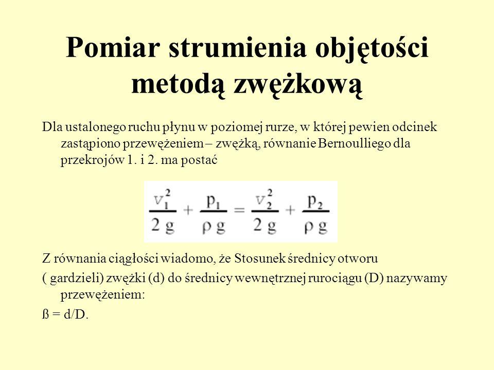 Pomiar strumienia objętości metodą zwężkową Dla ustalonego ruchu płynu w poziomej rurze, w której pewien odcinek zastąpiono przewężeniem – zwężką, rów