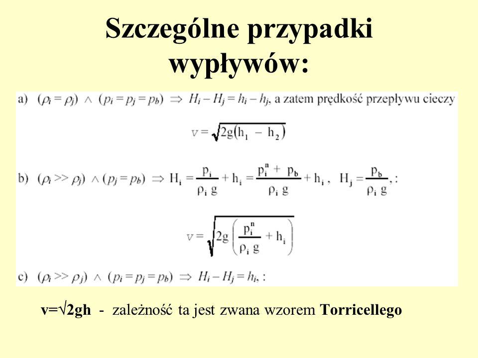 Szczególne przypadki wypływów: v= 2gh - zależność ta jest zwana wzorem Torricellego