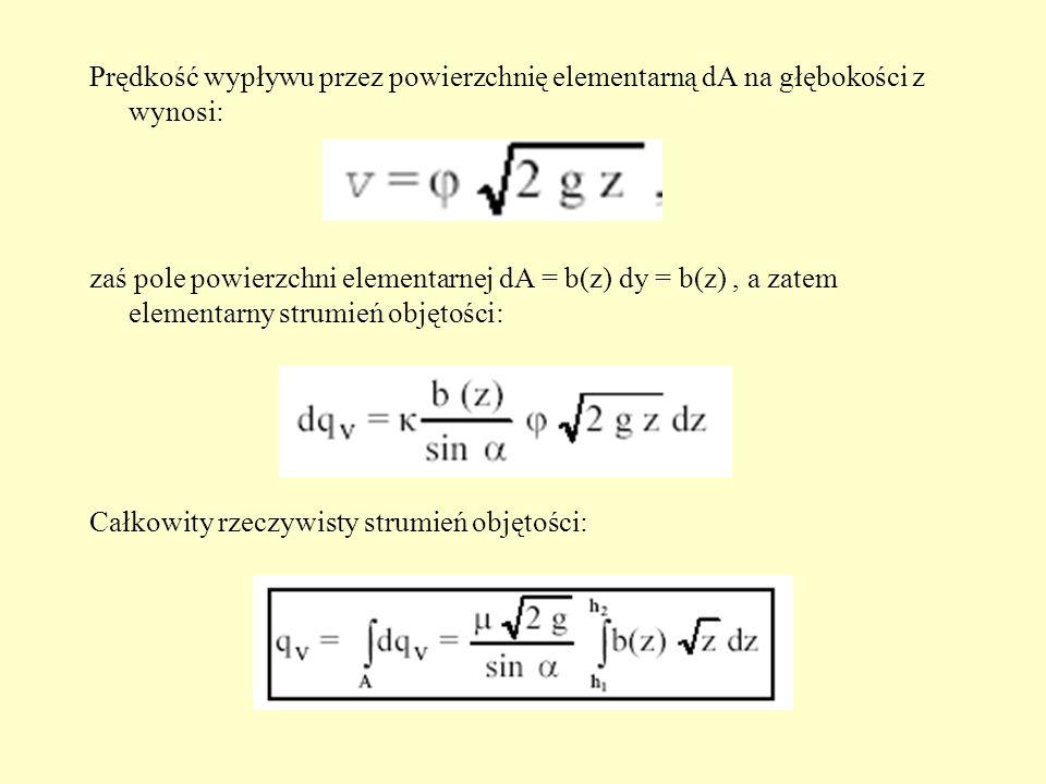 Prędkość wypływu przez powierzchnię elementarną dA na głębokości z wynosi: zaś pole powierzchni elementarnej dA = b(z) dy = b(z), a zatem elementarny
