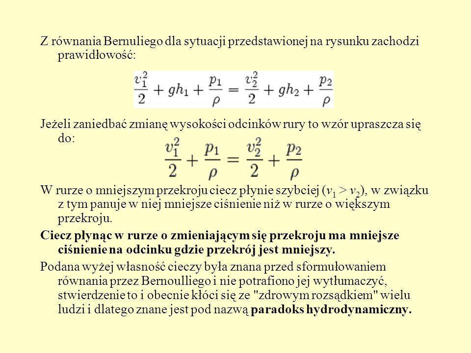 Zastosowanie równania Bernoulliego Z równania Bernoulliego wynika wiele na co dzień obserwowanych zjawisk, zależności, a także zasad działania licznych urządzeń technicznych: paradoks hydrodynamiczny zjawisko zrywania dachów gdy wieje silny wiatr zasada działania sondy Pitota zasada działania sondy Prandla zasada działania sondy Venturiego pośrednio zasady powstawania siły nośnej w skrzydle samolotu