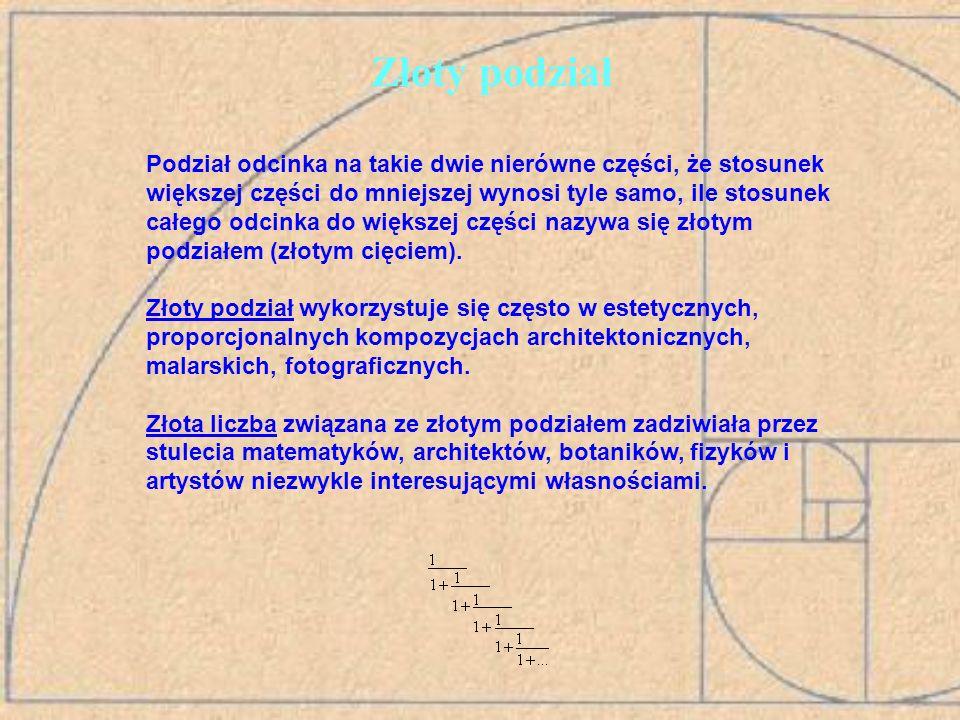 Ciąg Fibonacciego 1, 1, 3, 5, 8, 13, 21, 34, 55, 89, 144, … Liczby z ciągu nazywane są liczbami Fibonacciego, pierwszy i drugi wyraz to 1, każdy następny to suma dwóch poprzednich, postać rekurencyjna ciągu (fn – n-ty wyraz ciągu):