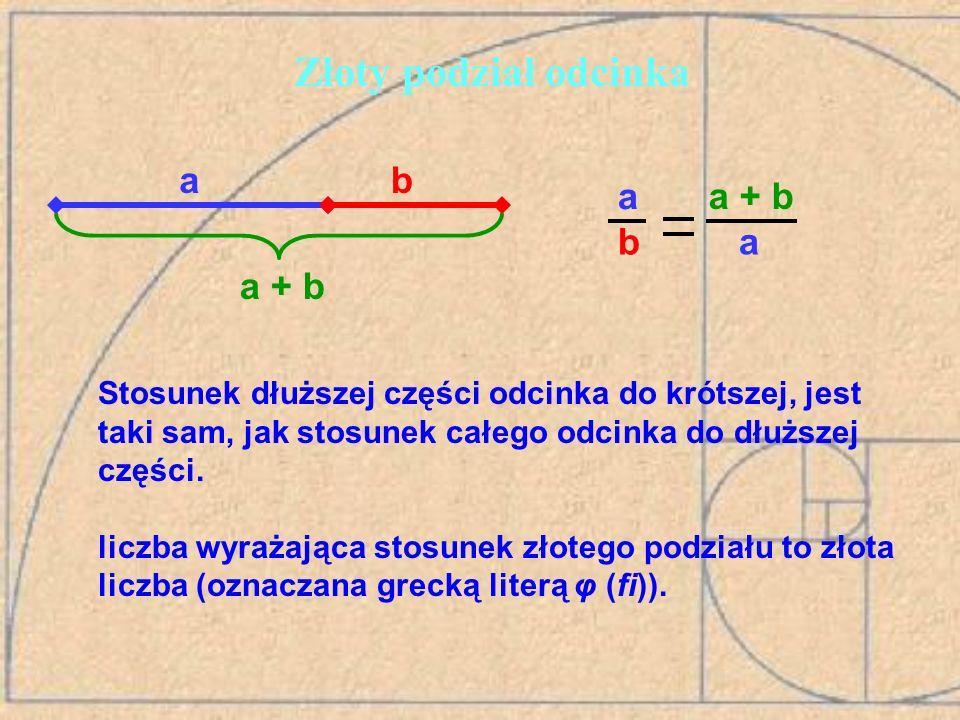 Ciąg Fibonacciego a złota liczba Dzieląc każdą z liczb tego ciągu przez poprzednią otrzymujemy coraz lepsze przybliżenia złotej liczby: 3:2=1,5 5:3=1,(6) 8:5=1,6 13:8=1,625 … 89:55=1,61818… 144:89=1,61797… Wzór ogólny ciągu (φ-złota liczba) – wzór Bineta: