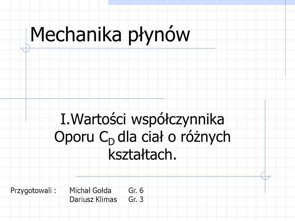 Mechanika płynów I.Wartości współczynnika Oporu C D dla ciał o różnych kształtach. Przygotowali : Michał GołdaGr. 6 Dariusz KlimasGr. 3