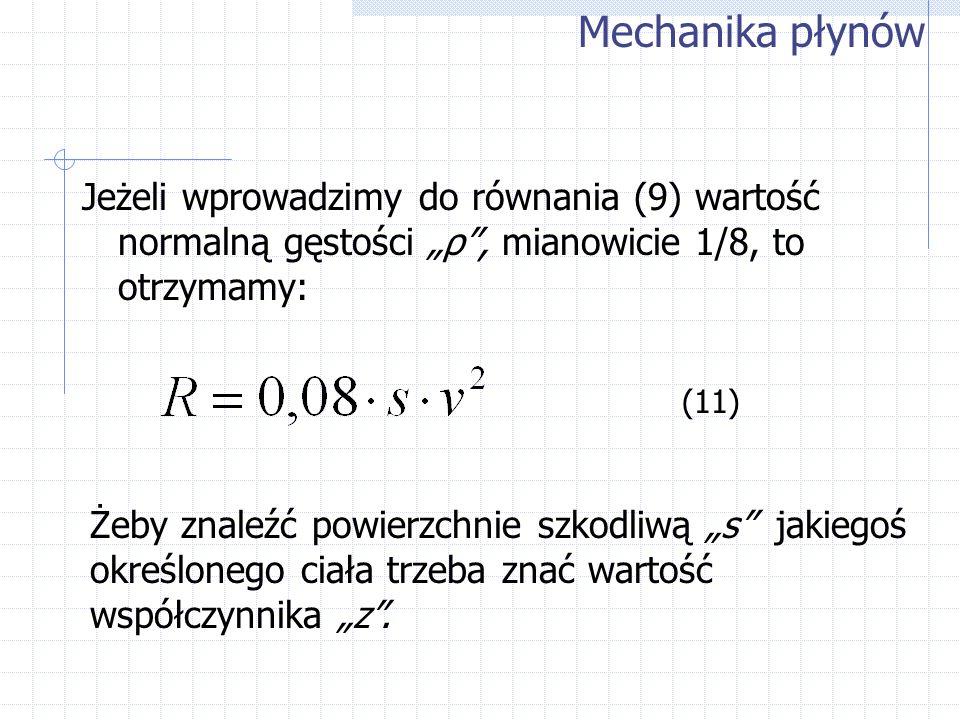 Jeżeli wprowadzimy do równania (9) wartość normalną gęstości ρ, mianowicie 1/8, to otrzymamy: Mechanika płynów (11) Żeby znaleźć powierzchnie szkodliw