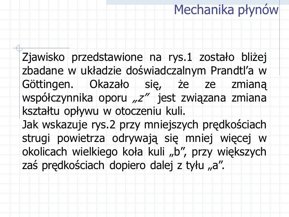 Mechanika płynów Zjawisko przedstawione na rys.1 zostało bliżej zbadane w układzie doświadczalnym Prandtla w Göttingen. Okazało się, że ze zmianą wspó