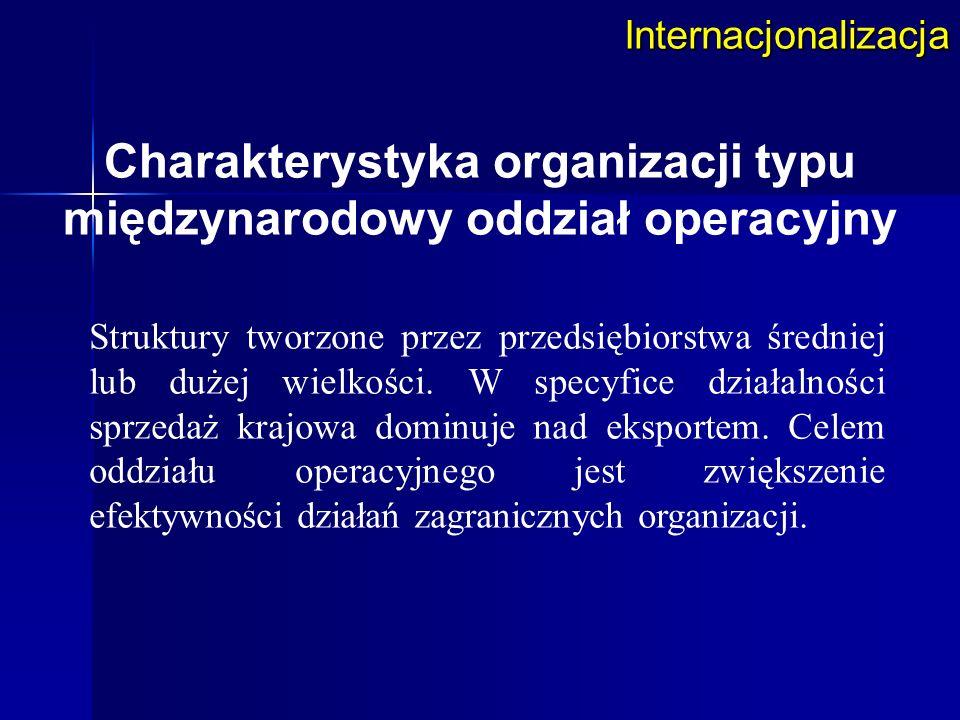 Internacjonalizacja Struktury tworzone przez przedsiębiorstwa średniej lub dużej wielkości. W specyfice działalności sprzedaż krajowa dominuje nad eks